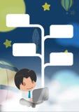 Vetor do flutuador da noite da nuvem do trabalho do homem Ilustração Stock