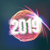 Vetor do fundo do ano 2019 novo feliz Esfera de incandescência futurista Molde do projeto de cartão Feliz Natal Ilustração do Vetor