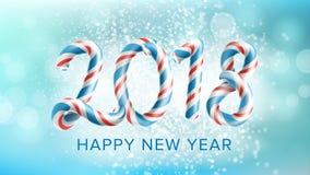 Vetor do fundo do ano 2018 novo feliz Molde 2018 do projeto do inseto ou do folheto Data da decoração 2018 anos comemore Fotos de Stock Royalty Free