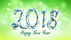 Vetor do fundo do ano 2018 novo feliz Molde 2018 do projeto do inseto ou do folheto Ilustração da decoração do feriado do festiva Fotografia de Stock