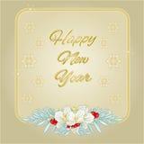 Vetor do fundo do jasmim do quadro de ano novo feliz e do ouro dos flocos de neve Fotos de Stock
