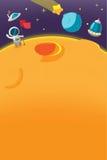 Vetor do fundo do planeta dos desenhos animados da galáxia do astronauta Fotografia de Stock Royalty Free