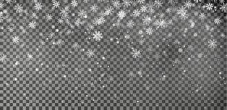Vetor do fundo do floco de neve Efeito da decoração da queda da neve do Natal Teste padrão transparente ilustração royalty free