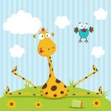 Vetor do girafa e do pássaro ilustração royalty free