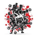 Vetor do gráfico da composição da equipe do jogador de futebol Fotografia de Stock Royalty Free