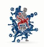 Vetor do gráfico da composição da equipe do jogador de futebol Foto de Stock
