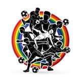 Vetor do gráfico da composição da equipe do jogador de futebol Imagens de Stock Royalty Free