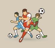 Vetor do gráfico da composição da equipe do jogador de futebol três Imagens de Stock Royalty Free