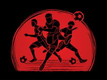 Vetor do gráfico da composição da equipe do jogador de futebol três Imagem de Stock