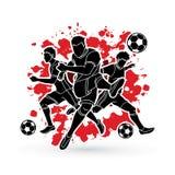 Vetor do gráfico da composição da equipe do jogador de futebol três Imagem de Stock Royalty Free
