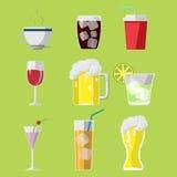 Vetor do grupo de símbolos dos ícones da bebida da bebida Fotos de Stock Royalty Free