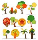 Vetor do grupo do ícone da árvore Fotografia de Stock