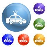 Vetor do grupo dos ícones do carro de polícia ilustração royalty free