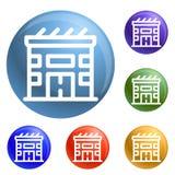Vetor do grupo dos ícones da casa solar de Eco ilustração royalty free