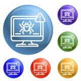 Vetor do grupo dos ícones da detecção do vírus de computador ilustração stock