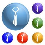 Vetor do grupo dos ícones da gravata ilustração stock