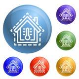 Vetor do grupo dos ícones da temperatura da casa do controle ilustração do vetor