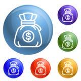 Vetor do grupo dos ícones do saco do dinheiro ilustração do vetor