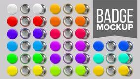 Vetor do grupo do modelo do crachá Pin Brooch Button Blank Dois lados Promoção, artigo da mercadoria Parte dianteira, vista trase ilustração stock