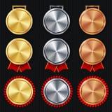 Vetor do grupo vazio das medalhas Primeiro realístico, segundo terceiro prêmio da colocação Conceito vazio clássico das medalhas  ilustração stock