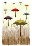 Vetor do guarda-chuva com grama Imagem de Stock Royalty Free