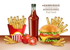 Vetor do hamburguer e das batatas fritas do menu do fast food realístico ilustrações 3D ilustração royalty free