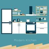 Vetor do interior da cozinha Foto de Stock Royalty Free