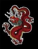 Vetor do isolado do dragão, tatuagem chinesa do dragão Dragão japonês tradicional ilustração do vetor
