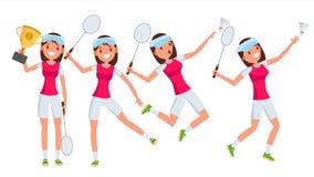 Vetor do jogador da jovem mulher do badminton Atleta Player da menina Salto, praticando Ilustração lisa dos desenhos animados ilustração do vetor