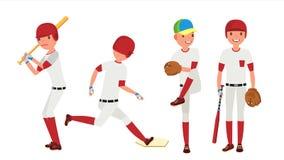vetor do jogador de beisebol Ação do esporte no estádio Lançador poderoso Ilustração lisa isolada do personagem de banda desenhad Fotografia de Stock Royalty Free