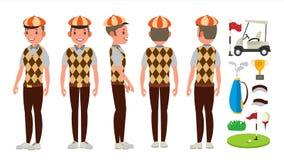 Vetor do jogador de golfe Jogando o homem do jogador de golfe Poses diferentes Ilustração lisa isolada do personagem de banda des ilustração royalty free