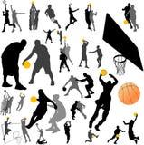 Vetor do jogador e da esfera de basquetebol Foto de Stock
