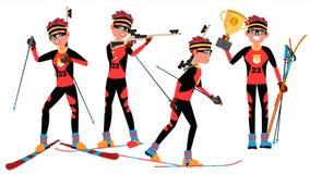 Vetor do jogador do homem novo do Biathlon Homem Escala de tiro Apontar com arma competitiva Atleta liso Cartoon Illustration ilustração do vetor