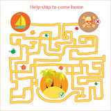 Vetor do jogo das palavras Labirinto engraçado com navio e piratas cartoon Imagens de Stock Royalty Free