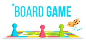 Vetor do jogo de mesa Espaço do campo Jogo de tabela lógica para crianças Ilustração lisa isolada dos desenhos animados ilustração do vetor