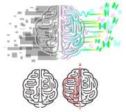 Vetor do labirinto dos hemisférios do cérebro ilustração stock