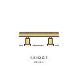 Vetor do logotipo do esboço da ponte Imagens de Stock