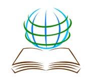 Vetor do logotipo do livro e do globo Logotipo da educação ilustração royalty free