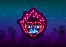 Vetor do logotipo do salão de beleza da tatuagem Sinal de néon, um símbolo do coração no fogo, um quadro de avisos luminoso brilh ilustração royalty free