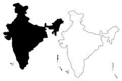 Vetor do mapa da Índia ilustração stock