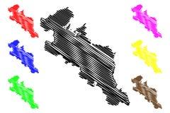 Vetor do mapa da prefeitura de Kyoto ilustração royalty free