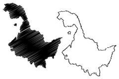 Vetor do mapa da província de Heilongjiang ilustração royalty free