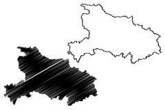 Vetor do mapa da província de Hubei ilustração do vetor