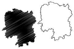 Vetor do mapa da província de Hunan ilustração stock
