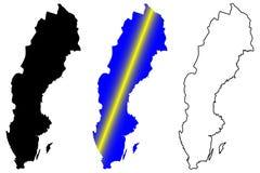 Vetor do mapa da Suécia Imagem de Stock