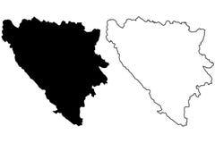 Vetor do mapa de Bósnia e de Herzegovina Imagens de Stock
