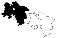 Vetor do mapa de Baixa Saxónia Fotografia de Stock Royalty Free