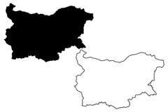 Vetor do mapa de Bulgária Foto de Stock Royalty Free