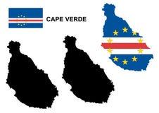 Vetor do mapa de Cabo Verde, vetor da bandeira de Cabo Verde, Cabo Verde isolado Imagens de Stock Royalty Free