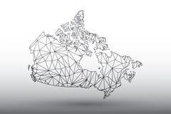 Vetor do mapa de Canadá das linhas conectadas geométricas triângulos da cor preta da utilização na ilustração clara do fundo que  fotos de stock
